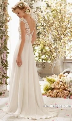 2015 V Neck A Line Wedding Dress Chiffon With Beads And Applique Court Train