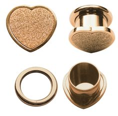 Bild von Ohr Piercing Flesh Tunnel Stahl 18 kt. Rose Gold Herz in 10-16 mm #fleshtunnel #ohrpiercing