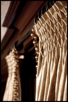 Decorative smocking with beading by Gillian Wendel Top treatments #Window #draperies #curtains