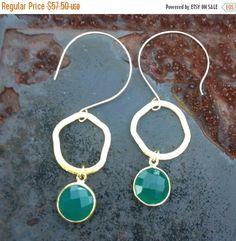 On Sale Bezel Set Green Onyx   and Bali Gold Vermeil  Dangle Earrings by vowangems on Etsy https://www.etsy.com/listing/204641417/on-sale-bezel-set-green-onyx-and-bali