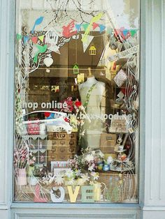 Shop Window Display - like the decals. Vitrine Design, Cut Out Art, Store Window Displays, Retail Displays, Window Art, Window Ideas, Store Windows, Retail Windows, Lovely Shop