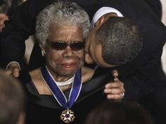 President Obama presents Maya Angelou with the highest civilian honor.