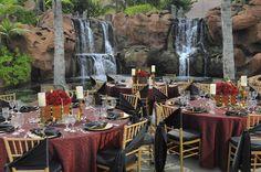Dramatic Dig Deck Wedding reception setup @atlantisresort #waterfalls #gothic