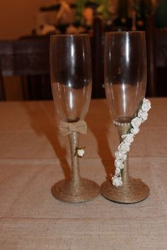 Rustic Bride and groom wedding champange toasting flutes handcrafted #Unbranded