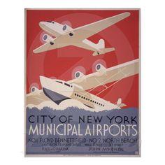 Vintage NY Seaplane Poster
