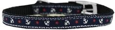 """Nylon Dog Collar With Anchor Desing and Classic Buckle 3/8"""""""