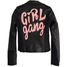 GIRL GANG MOTO JACKET ($122) ❤ liked on Polyvore featuring outerwear, jackets, moto jackets, rider jacket, biker jackets and motorcycle jacket