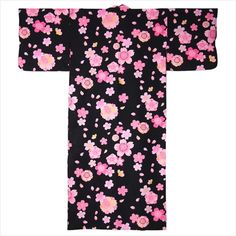 This Yukata is adorned with shades of Pink Cherry blossoms against a black background. Made in Japan, this traditional Japanese Kimono has butterfly styled sleeves and a matching belt.