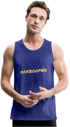 Hit the beach, the street or the gym in this soft, durable tank from the our collection. Tank I, Tank Tops, Ok Boomer, Very Well, Mens Fitness, Fabric Weights, Simple Designs, Looks Great, Heather Grey