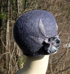 Items similar to Romantic style flapper cloche hat, soft gray-blue hand-felted wool and alpaca flower on Etsy Cloche Hat, Winter Hats, Trending Outfits, Unique Jewelry, Handmade Gifts, Etsy, Vintage, Fashion, Turbans