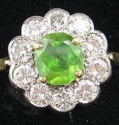 RE-LISTED ON TROCADERO:  Large DEMANTOID & Diamonds Ring