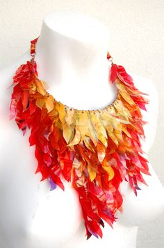 upcycled fire necklace - would make an awesome costume piece.