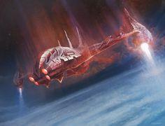 concept ships: Concept spaceship art by Sergey Glushakov