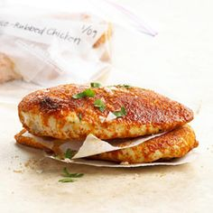 Spice-Rubbed Chicken Coat chicken breasts in this recipe with sweet-spicy rub and cook. Freeze individually wrapped so you can pull and thaw as many or few as you need for a quick lunch or dinner.