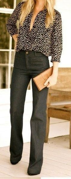 Wide leg flare jeans blouse