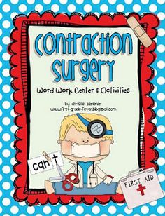 Contraction Surgery- Literacy activity, cut words and join back together correctly to form the shorter contraction.