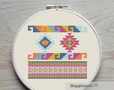cross stitch borders pattern aztec inspired PDF por Happinesst