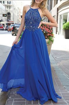 Blue Prom Dress,Beaded Prom Dress,Long Prom Dress,Halter#prom #promdress #dress #eveningdress #evening #fashion #love #shopping #art #dress #women #mermaid #SEXY #SexyGirl #PromDresses