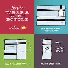 Holiday hostess gift idea: wrap your favorite bottle of entwine in a reusable tea towel. Cheers to two gifts in one!