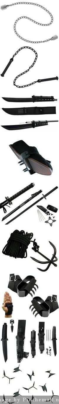 NINJA's are the coolest! The Ninja employed just about everything as their equipment from farm tools to everyday objects. They had a gear for just about every situation and battle Katana, Samurai, Ninja Gear, Armas Ninja, Martial Arts Weapons, Ninja Weapons, Survival, By Any Means Necessary, Ninja Warrior