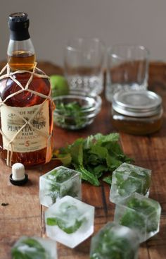Mint Ice Cubes for DIY Mojitos