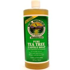 Tea Tree Castile Soap 32 Ounces by Dr. Woods. $7.19. Serving Size:. 32 Ounces Liquid. Castile Soap incorporates the natural healing properties of olive oil with an invigorating scent. The olive oil in these soaps attracts moisture and, while holding that moisture close to the skin, forms a breathable layer preventing the loss of that moisture. Dr. Woods Castile Soap does not contain any harsh detergents that can strip away skin's natural moisture. The fragrance refres...