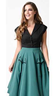 Vintage Style Black Button Up Cap Sleeve Blouse