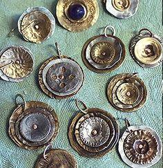hammered buttons: Christine Marie Davis