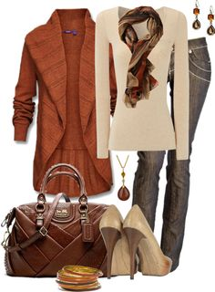 """""""Orange and Brown"""" by averbeek on Polyvore"""