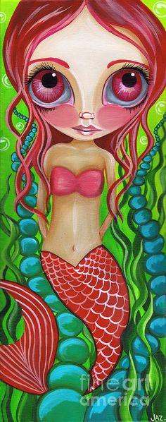 Crimson Mermaid Painting  - Crimson Mermaid Fine Art Print