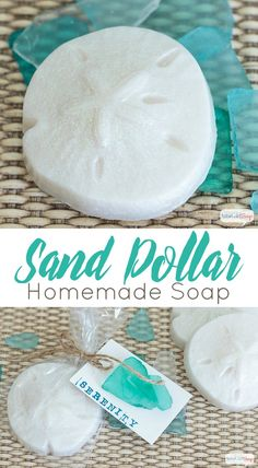 If you've always wanted to know how to make soap, start with these glitter-flecked and lusciously scented homemade soap sand dollars with a relaxing fragrance that will transport you to the beach.