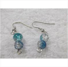 HANDMADE 2 BALL AQUA & BLUE CRACKLE EARRINGS Listing in the Earrings,Costume Jewellery,Jewellery & Watches Category on eBid United Kingdom