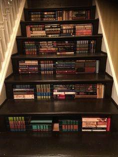 Staircase bookcase for Christmas! www.littleheartsbooks.com