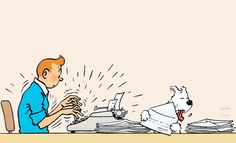 1965 ❘ Tintin répond à son courrier — Tintin responding to his letters ☼… Funny Christmas Cards, Christmas Humor, Caricatures, Herge Tintin, Lucky Luke, Ligne Claire, Retro Humor, Animated Cartoons, Snoopy