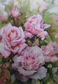 Val Tubman watercolor pink roses