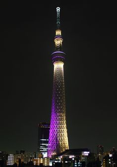"""Learn from landmarks - without clever lighting some of the word's most stunning landmarks would blend into the background at night.Tokyo at night. This tower has two illumination patterns, this purple lighting is named """"Miyabi"""". Breakfast Pictures, Tokyo Skytree, Dream City, Tokyo Japan, After Dark, Japan Travel, Deep Purple, Road Trip, Tower"""