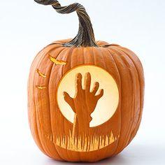 Zombie Pumpkin Stencil - 10 fun pumpkin carving templates