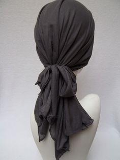 Chemo Alopecia Charcoal Tencel Soft Stretchy Head Scarf Light Head Covering