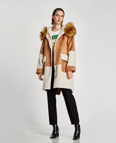 ZARA - WOMAN - FAUX SUEDE COAT WITH CONTRASTING HOOD