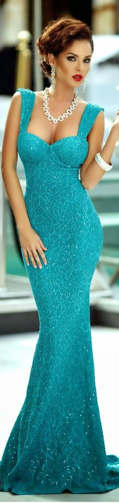 GLISTEN, GLOW, SHINE  sequined lace turquoise dress BELLA DONNA