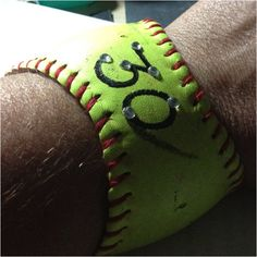 Bracelet I made from one of my daughter's old softballs.