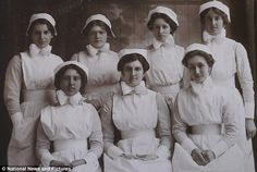 The team: Nurses treated injured soldiers, British and German, at the hospital in Kent - article and pictures about the diary of a WW1 nurse