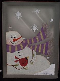 Designs by Cheryl Skalski-Hand Painted Glass Blocks Mehr Christmas Ornament Crafts, Snowman Crafts, Christmas Signs, Christmas Snowman, Christmas Projects, Holiday Crafts, Ornaments, Painted Glass Blocks, Hand Painted