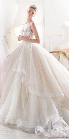 2018 Wedding Dress Trends To Love – Part 1: nicole spose 2018 bridal trends sleeveless v neck beaded bodice ball gown wedding dress #weddingdress; #bridalgown