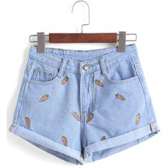 Carrot Embroidered Cuffed Denim Shorts ($11) ❤ liked on Polyvore featuring shorts, bottoms, jeans, pants, blue, embroidered shorts, blue shorts, blue denim shorts, denim shorts and embroidered denim shorts