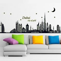 Fangeplus(TM) DIY Removable Dubai City Night View Luminous Art Mural Vinyl Waterproof Wall Stickers Living Room Decor Bedroom Decal Sticker Wallpaper 35.4''x23.6'' *** You can get more details here : home diy improvement