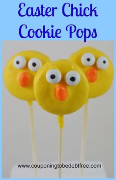Easter Chick Cookie Pops #Easter #Cookies www.couponingtobedebtfree.com