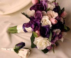 silk+bridal+flowers | Purple Bridal Bouquet silk artificial wedding flowers roses pink tulip ...