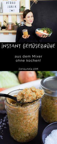 Instant Gemüsebrühe selber machen aus dem Mixer ohne kochen, ohne Konservierungsstoffe & Zucker…  Die schnellste und gesündeste Instant Gemüsebrühe ist die selbstgemachte aus dem Mixer! Total einfach und super lecker! Und erstaunlich lange haltbar! brühe #gemüsebrühe #gemüsebouillion #bouillion #gemüsebrüheselbermachen #gemüse #kochen #gesundkochen #rezepte  #gesunderezpepte #kochbuchgesund #ohnezucker #gemüserezepte #gemüsebrüheohnekochen #instantgemüsebrühe #instant #fraujanik
