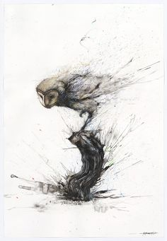 Explosive Splattered Ink Animal Paintings by Hua Tunan http://www.thisiscolossal.com/2015/05/explosive-splattered-ink-animal-paintings-by-hua-tunan/